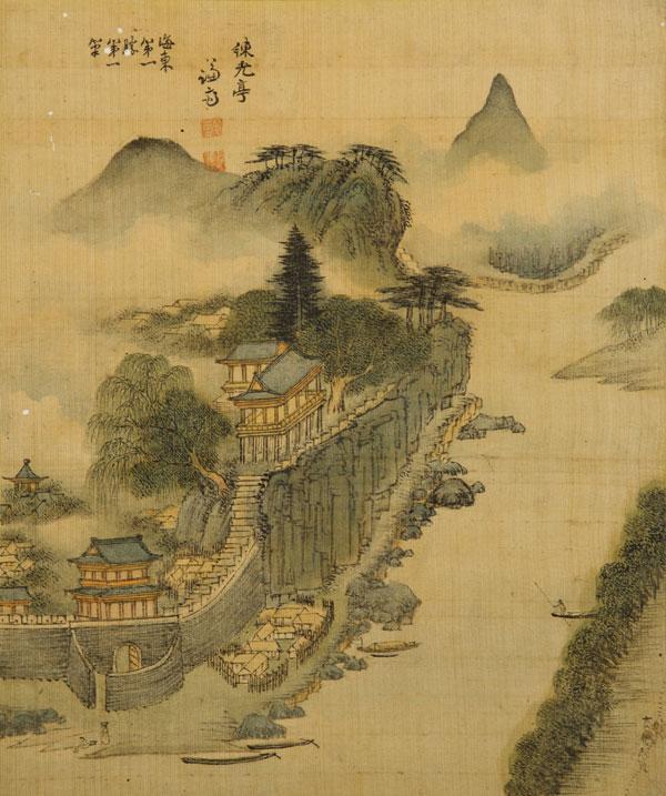 ▲ 연광정 練光亭|비단에 엷은 색|28.6×23.9cm|Yeongwangjeong Pavilion |성 베네딕도회 왜관 수도원 소장